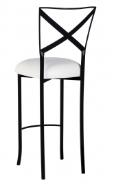 Blak. Barstool with White Suede Cushion