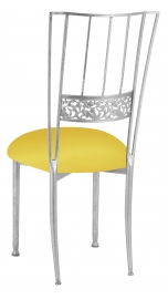 Silver Bella Fleur with Bright Yellow Stretch Knit Cushion