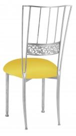 Silver Bella Fleur with Bright Yellow Stretch Knit Cushion