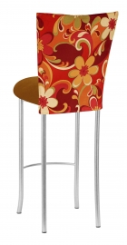 Groovy Suede Barstool Cover with Copper Suede Cushion on Silver Legs