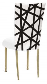 FWY Chair Cover with White Suede Cushion on Gold Legs