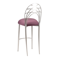 Silver Piazza Barstool with Lilac Suede Cushion