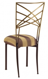 Two Tone Gold Fanfare with Gold and Brown Stripe Cushion