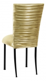 Chloe Metallic Gold Stretch Knit Chair Cover and Cushion on Black Legs