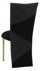 Black Velvet Zig Zag Black Lace Jacket with Black Stretch Knit Cushion on Gold Legs