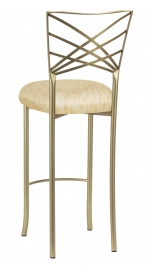 Gold Fanfare Barstool with Ivory Lace over Ivory Knit Cushion