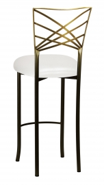 Two Tone Fanfare Barstool with Metallic White Knit Cushion