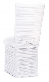 Chloe White Stretch Knit Chair Cover with Rhinestone Accent Band, Cushion and Skirt