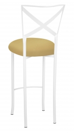 Simply X White Barstool with Gold Stretch Knit Cushion