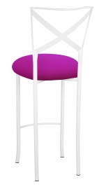Simply X White Barstool with Magenta Stretch Knit Cushion