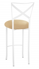 Simply X White Barstool with Toffee Stretch Knit Cushion