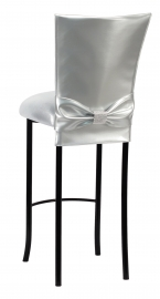 Silver Patent Barstool 3/4 Chair Cover with Rhinestone Accent Belt and Metallic Silver Stretch Knit Cushion on Black Legs