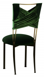 Green Velvet Sweetheart with Green Velvet Cushion on Brown Legs