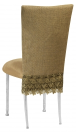 Burlap Flamboyant 3/4 Chair Cover with Camel Suede Cushion on Silver Legs