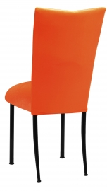 Orange Velvet Chair Cover and Cushion on Black Legs