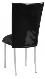 Black Patent Leather Chair Cover with Black Stretch Knit Cushion on Silver Legs