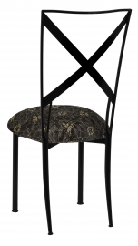 Blak. with Black Lace with Gold and Silver Accents over Black Knit Cushion