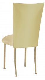 Light Pear Dupioni Chair Cover with Champagne Metallic Gold Stretch Knit Cushion on Gold Legs