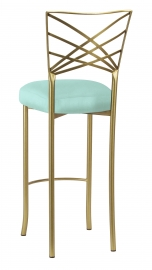 Gold Fanfare Barstool with Tropic Teal Taffeta Boxed Cushion