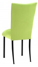 Lime Green Velvet Chair Cover and Cushion on Black Legs