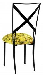 Blak. with Yellow Paint Splatter Knit Cushion