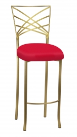 Gold Fanfare Barstool with Million Dollar Red Knit Cushion