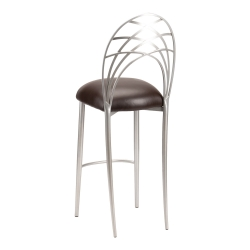 Silver Piazza Barstool with Chocolate Brown Leatherette Cushion