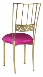 Gold Bella Fleur with Metallic Fuchsia Knit Cushion