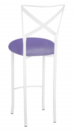 Simply X White Barstool with Lavender Velvet Cushion