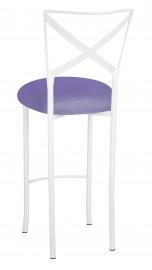 Simply X White Barstool with Lavender Velvet Cushion
