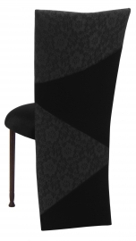 Black Velvet Zig Zag Black Lace Jacket with Black Stretch Knit Cushion on Mahogany Legs