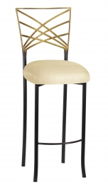 Two Tone Fanfare Barstool with Champagne Metallic Knit Cushion