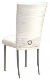 Chloe White Stretch Knit Chair Cover, Jewel Band and Cushion on Silver Legs