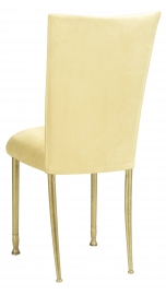 Buttercup Suede Chair Cover and Cushion with Gold Legs
