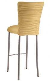 Chloe Gold Stretch Knit Barstool Cover and Cushion on Silver Legs