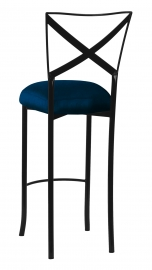 Blak. Barstool with Midnight Blue Taffeta Boxed Cushion