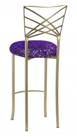 Gold Fanfare Barstool with Purple Paint Splatter Knit Cushion