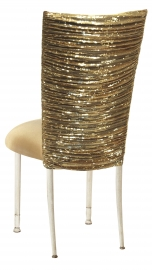 Gold Bedazzled Chair Cover with Gold Stretch Knit Cushion on Ivory Legs
