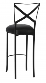 Blak. Barstool with Black Leatherette Boxed Cushion
