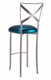Simply X Barstool with Metallic Teal Cushion