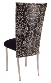 Black and White Dynasty Chair Cover with Black Stretch Knit Cushion on Silver Legs
