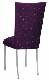 Purple Diamond Tufted Taffeta Chair Cover with Deep Purple Velvet Cushion on Silver Legs