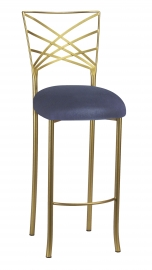 Gold Fanfare Barstool with Steel Velvet Cushion