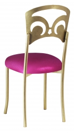 Gold Fleur de Lis with Metallic Fuchsia Stretch Knit Cushion