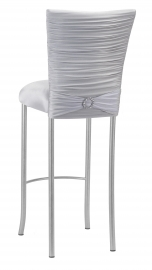 Chloe Silver Stretch Knit Barstool Cover with Jewel Band and Cushion on Silver Legs