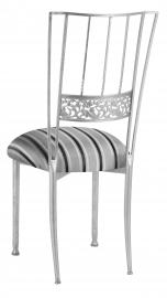 Silver Bella Fleur with Charcoal Striped Cushion
