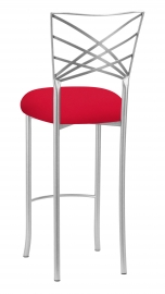 Silver Fanfare Barstool with Million Dollar Red Knit Cushion