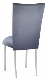 Steel Velvet Chair Cover and Cushion on Silver Legs
