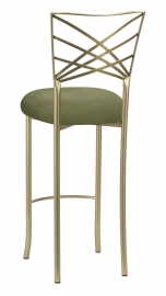Gold Fanfare Barstool with Sage Suede Cushion