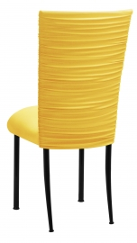 Chloe Bright Yellow Stretch Knit Chair Cover and Cushion on Black Legs